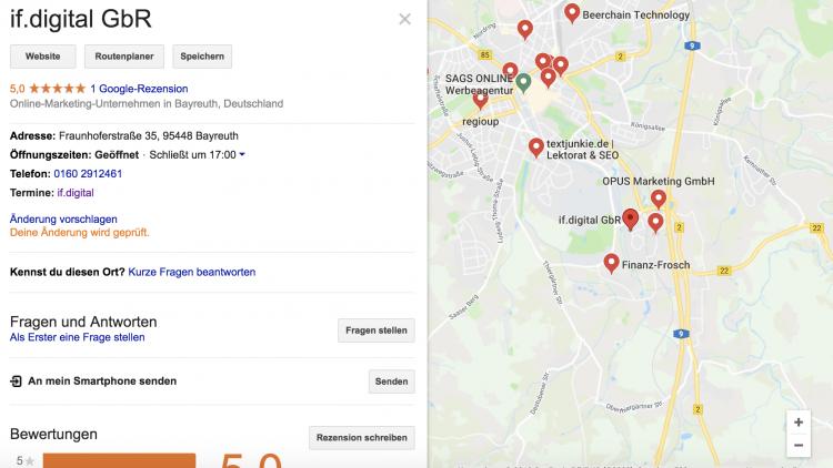 So sieht ein typisches Google MyBusiness Profil aus mit Bewertungen