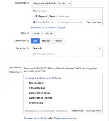 Zielgruppen Facebook Ads
